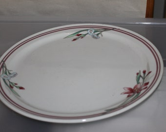 REGO, E460 A3  W, w a Crown on Top, Beautiful Plate, Part of a China Set, Add it Yours, Flowers Pattern, Dark Red and Light Blue Flowers