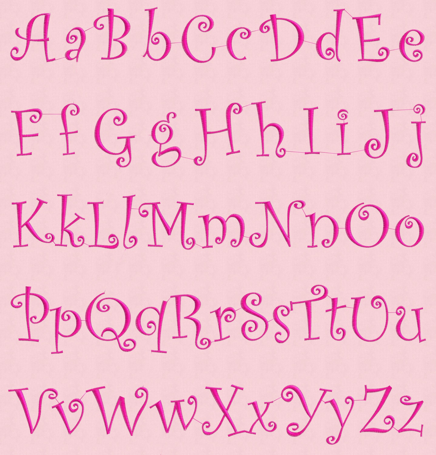 Embroidery design alphabet curly font letters digital