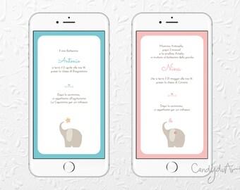 Digital invitation-Baptism, birth, birthday-Baby girl-baby elephant