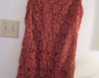 Vintage floral crochet sleeveless knee length cinnamon ladies dress. Size small to medium