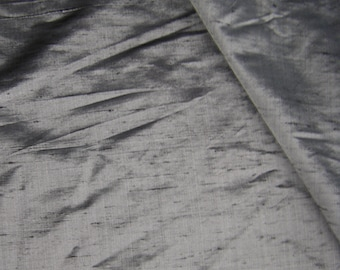 Silk  fabric - Raw Silk fabric - Silk Dupion Dark Grey Silk Fabric - Pure Silk Fabric - Sold by FQ Half Meter