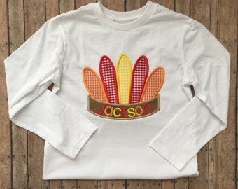 Feathered Headpiece Applique Shirt