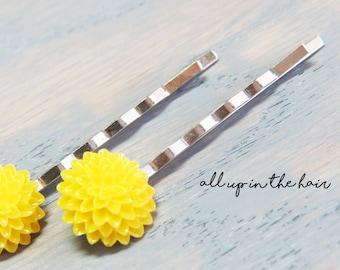 Yellow Bobby Pins - Yellow Flower Bobby Pins