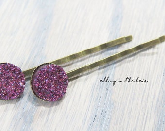 Purple Bobby Pins - Druzy Bobby Pins - Purple Druzy Bobby Pins