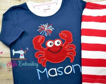 Fourth of July Pajamas, 4th of July PJS, Patriotic Pajamas, Summer Pajamas, Star Pajamas, Applique Pajamas, Boy Girl Pajamas,