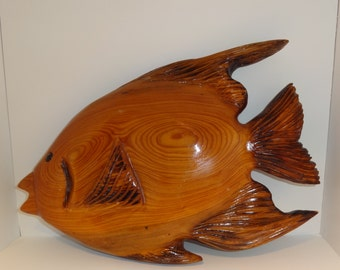 Handmade Wood Tropical Fish Wall Hanging