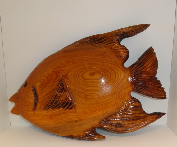Fish Wall Decor Wood : Handmade wood tropical fish wall hanging