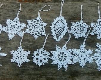 SALE 40% OFF Snowflakes, Crochet Ornaments, Christmas Decorations, Set of 12 Crochet Ornaments, Hanging Snowflakes, Tree decorations