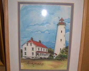 Sandy Hook Lighthouse print by Donna Elias 1994, framed double matted ready to hang extremely good condition