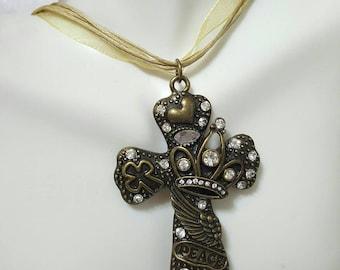 Bronze Peace Cross Necklace
