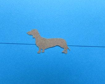 Small kraft brown sausage dog / daschund letter seals/stickers x 42 stickers