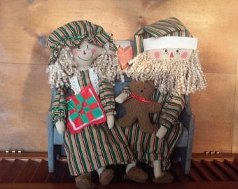 Primitive Raggedy Ann Mr. And Mrs. Santa