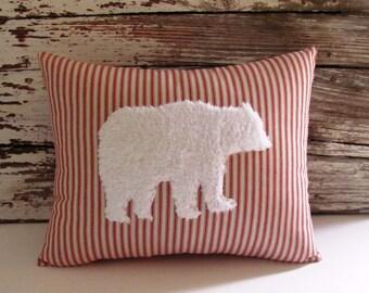 Bear Pillow White Fur Red Ticking Stripe