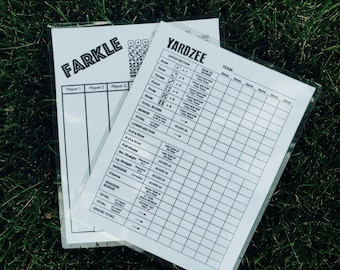 Double sided 8.5x11 yardzee/farkle score card - yardzee on one side & farkle on the other - scorecard