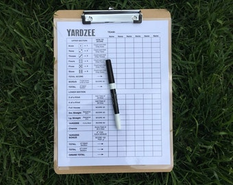 9x12 Laminated Yardzee scorecard, clipboard and marker - score card