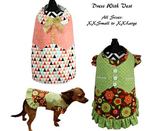 Dog Dress Pattern, Dog Clothes Sewing Pattern pdf Tutorial -Dress With Vest- ALL SIZES- xxsmall to xxlarge