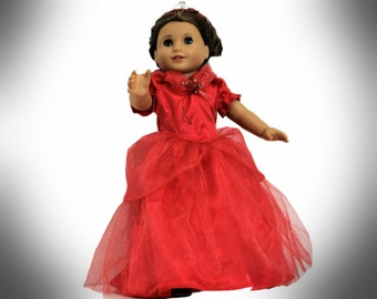 Beautiful Red Princess Gown, Crinoline, Sandals and Crown for 18 Inch Dolls such as American Girl, Our Generation, Madam Alexander