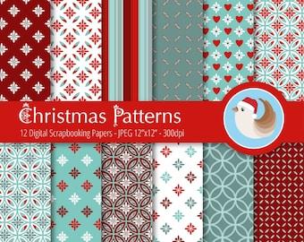 Christmas Digital Paper - Traditional Christmas Digital Paper - Set of 12 Digital Scrapbooking Papers