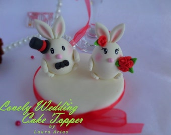 lovely wedding cake topper bunnies