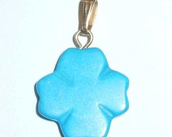 Turquoise Star Burst Flower Floral Gold Tone Charm Pendant