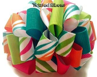 loopy hair bow, boutique bow, rainbow hair bow, zebra print hair bow