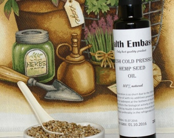 Fresh Cold Pressed Hemp Seed/Cannabis Oil 250ml (Cannabis sativa L.) - Health Embassy - Organic