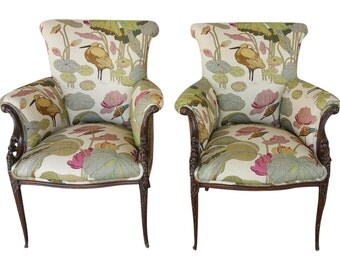 G.P Baker Nympheus Biscuit Linen Chairs - A Pair