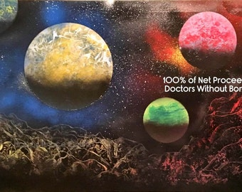Space Painting on Canvas - Original Spray Paint Art - 100% of Net Proceeds to Doctors Without Borders