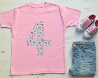Pink 4th Birthday Shirt | Fourth Birthday Outfit | 4th Birthday Outfit | Pink SS Appliqué 4