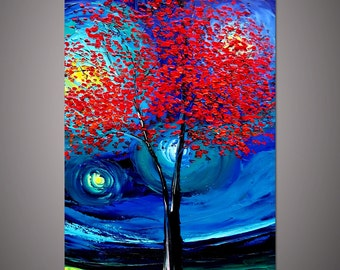 Hand-painted home decor wall art picture abstract Red Tree in the Moonlight blue landscape thick palette knife oil painting canvas By Lisa