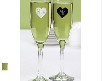 Contempo Mr. and Mrs. Heart Wedding Flutes Set Toasting Glasses
