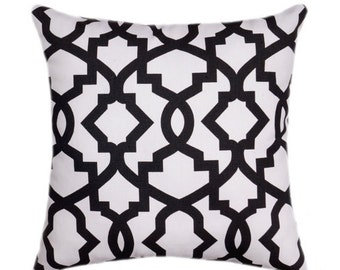 Black Pillow Cover - Lattice Throw Pillow - Sheffield Shadow Black Decorative Pillow Cover - Black and White Geometric Pillow - Black Cover