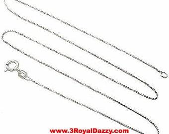 "Italian Solid Anti Tarnish .925 sterling silver box link chain - 1 mm 16 """