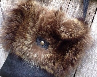 Fur and leather handbag * Fur and leather handbag