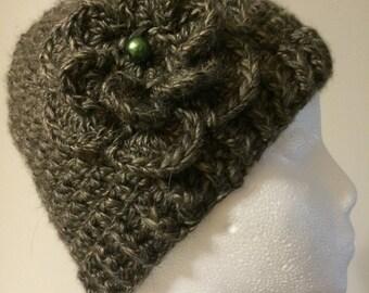 Womens Crochet Green Warm Winter Hat with Flower