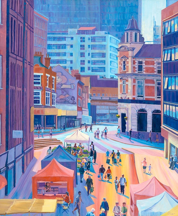 "The Market in Sunshine, Giclée print, 20X24"" from an original acrylic painting of shoppers at Surrey Street market in South London"