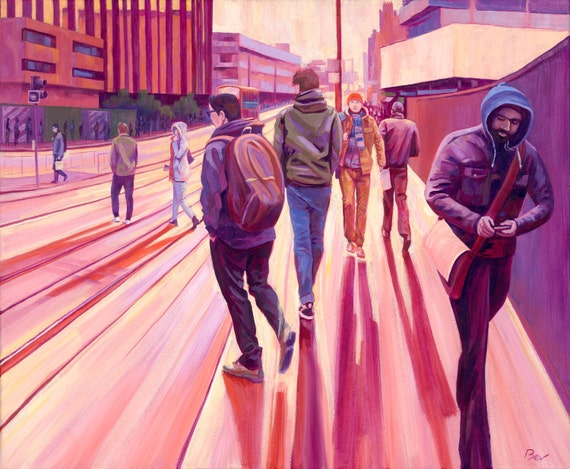"Halo,  Giclée  print 20X24"", from an original acrylic painting of commuters at East Croydon Station."
