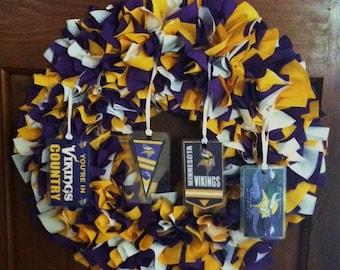 "Rag Wreath 16"" ~ Minnesota Vikings ~ Purple, Gold, White ~ Country Cottage ~ Handmade ~ Best Selling Item"
