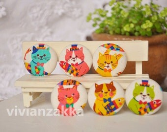 6pcs 3.2cm cute cat&fish fabric button set-colorful cat covered buttons -kids clothes buttons- earring and bracele supply