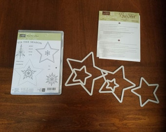 Stampin Up Many Merry Stars Stamp Set and Star Framelits Set