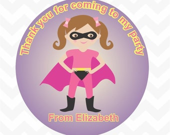 Super girl personalised name thank you birthday party favour stickers 12 pack