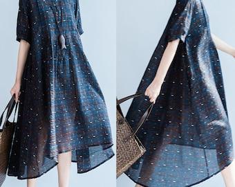 women loose skirts/women comfortable dress/women cotton&linen dress/women long dress/BJXGOCT05N159