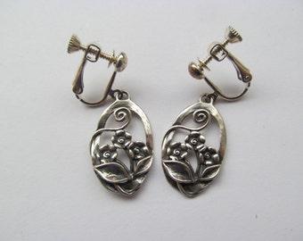 Sterling Silver / Israel Floral Drop Earrings