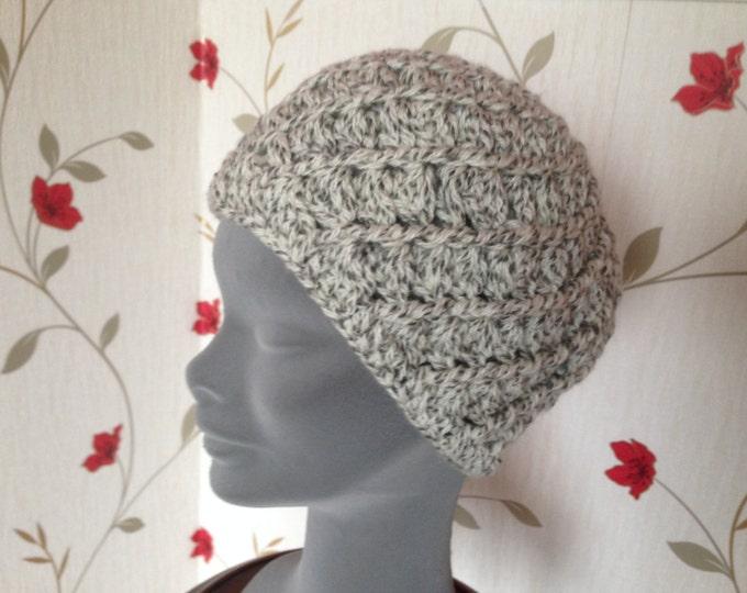 Irish Weave Beanie- Aran White - Tan - Eggshell  - Hand knit - Toque