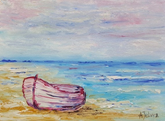 caribbean seascape paintings boat painting row boat art seascape painting beach art