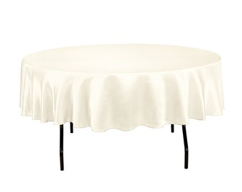 90 inch Round Ivory Tablecloth Satin | Wedding Decorations