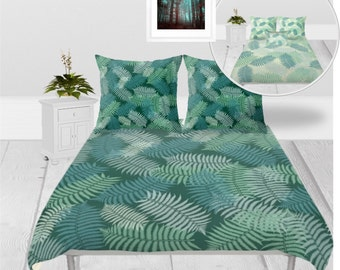 Duvet Cover or Comforter - 3 sizes, Without Insert, Bedroom, Home decor, Fern, Leaves, Floral, Spring, With or Without Shams, Green, Nature