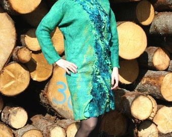 Felted dress, felted tunic,Felted clothing, silk dress, wool dress,OOAK