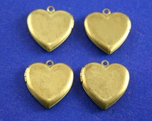 4 pcs. - Raw Brass Heart Locket, 22mm x 22mm Gold Heart Locket, Plain and Simple Heart Locket