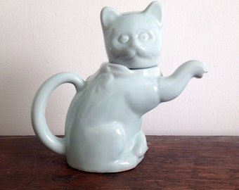 Little Mint Asian Ceramic Kitty Cat Creamer or Tiny Teapot